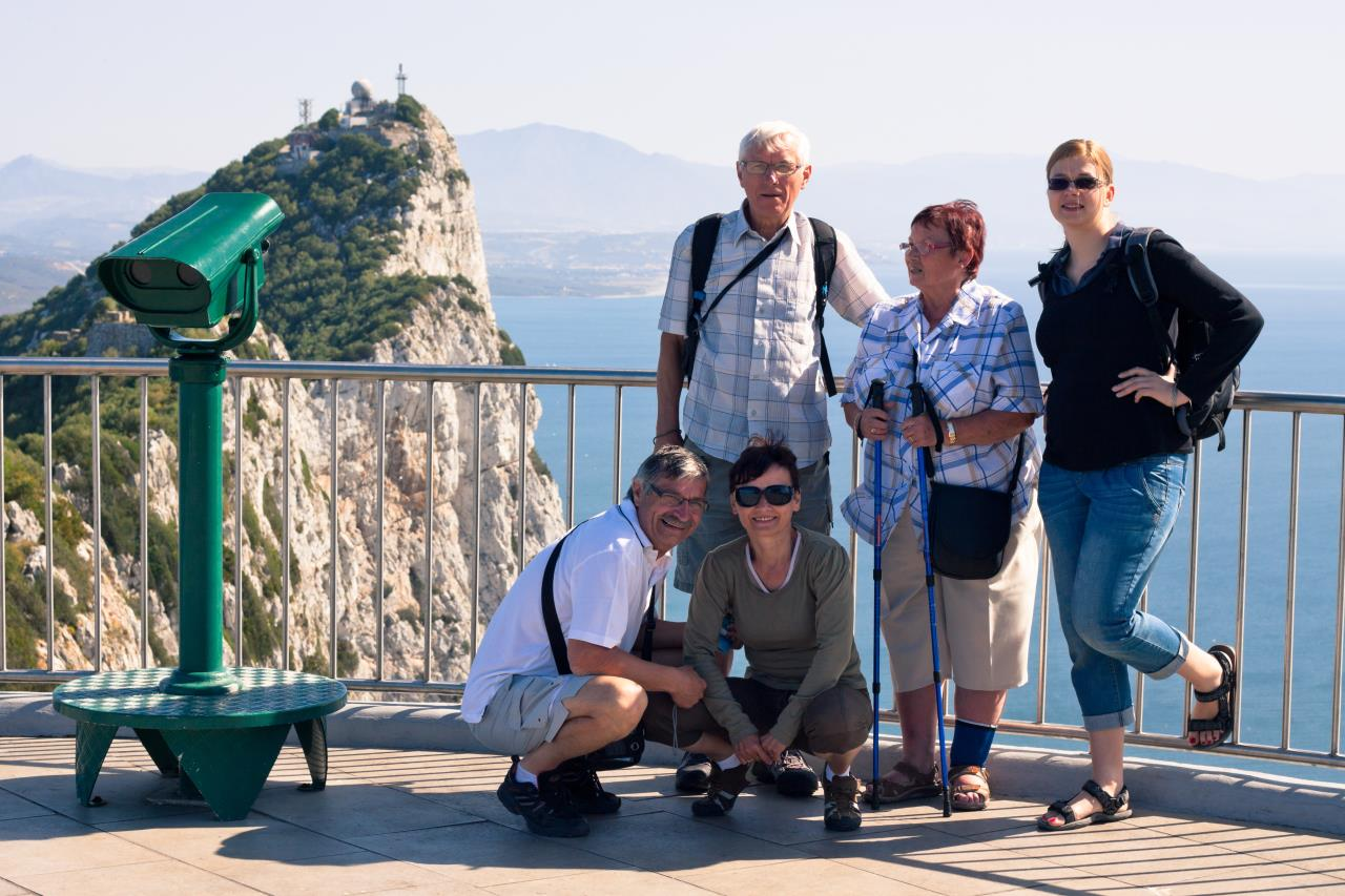 Senior Group travelers by the sea