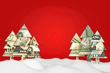 money christmas trees red background