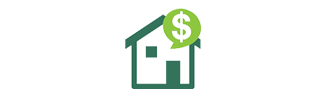 house with dollar sign bubble icon