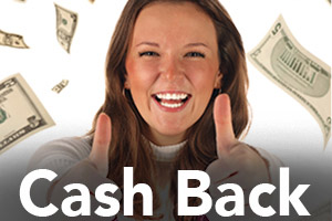 Young girl two thumbs up cash falling from above